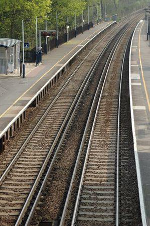 rail track: deserted railroad platform