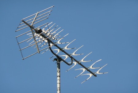 metallic rooftop television aerial