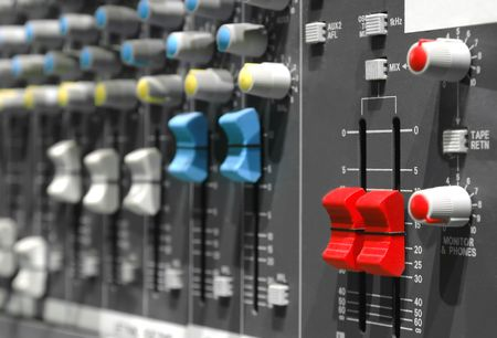 studio soundboard controls close-up Stock Photo - 2225344