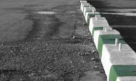barricades: heavy concrete traffic barricades Stock Photo