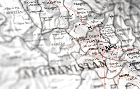 third world economy: afghanistan map detail with focus on kabul (kabol)