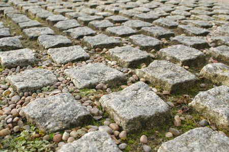 textured block paving perspective photo