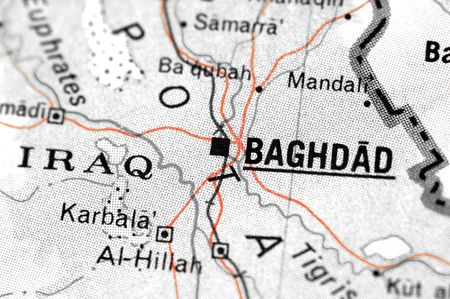 international crisis: iraq map detail with focus on baghdad Stock Photo