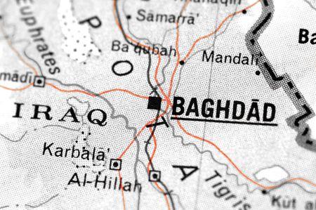 iraq mapa de detalle, con especial atención a Bagdad  Foto de archivo