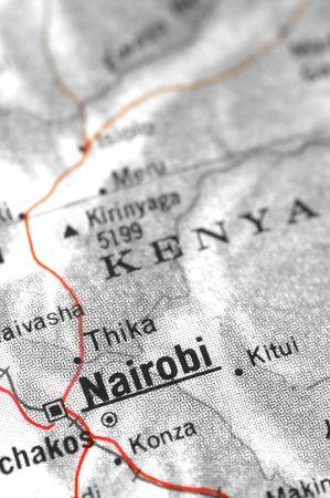 third world economy: kenyan map detail with focus on nairobi