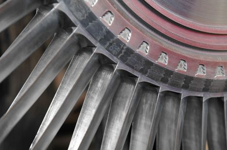 rotor: close-up of vintage jet engine rotor parts