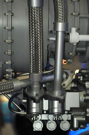 fuel chamber: close-up of jet engine valves and pipes