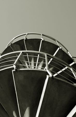 spiral fire escape black and white abstract Stock Photo - 2525604