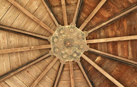 roof timber abstract from a wood cabin interior photo