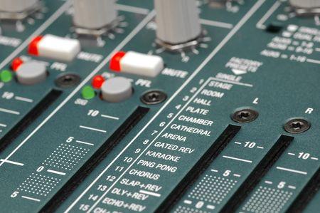 mixing soundboard re-verb settings close-up