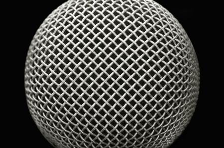close-up studio microphone abstract on black photo
