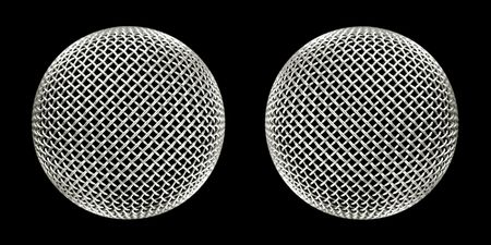 twin microphones close-up on black Stock Photo - 2673820
