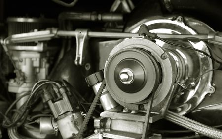 pistons: exposed 1960s vintage camper van engine