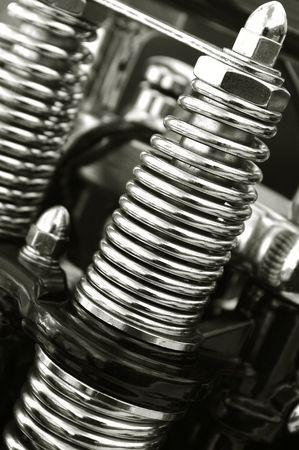 resortes: cromado motocicleta suspensi�n manantiales close-up