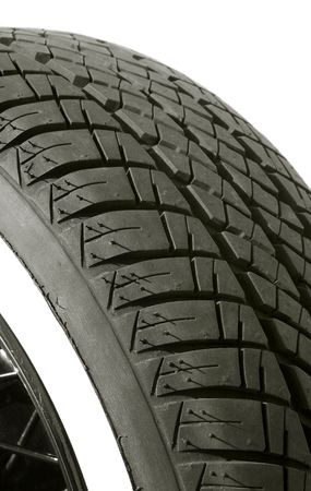 walled: isolated white walled tire tread close-up Stock Photo