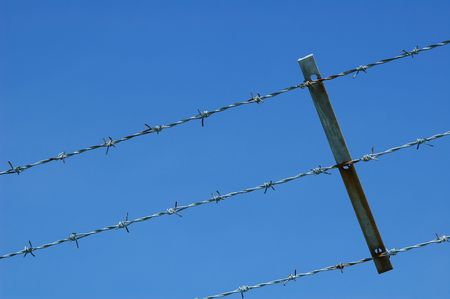 fencing wire: barbed wire fencing against blue sky