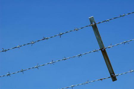 imprisoned: barbed wire fencing against blue sky