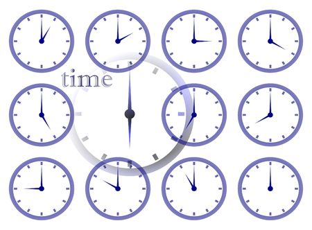 time zone: time passing multiple clock face illustration