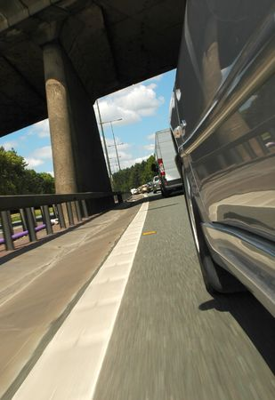 angled view: angled view of speeding freeway traffic