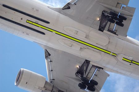 undercarriage: undercarriage close-up of a large jet aircraft