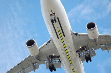 close-up of a large low flying jet aircraft Stock Photo - 3333741