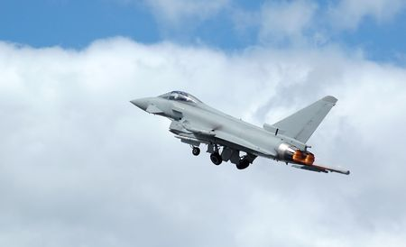 supersonic transport: euro fighter: typhoon military jet on take-off Stock Photo