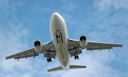 undercarriage: large jet aircraft on landing approach