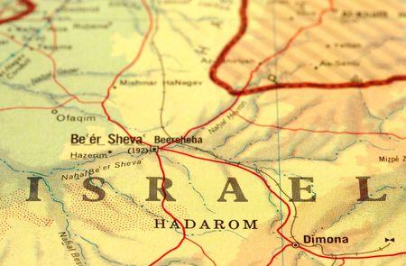 mapa politico: cerca de detalle el mapa de Israel Foto de archivo