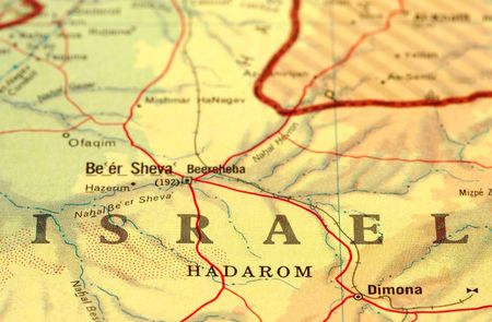 middle east map: close-up map detail of Israel Stock Photo