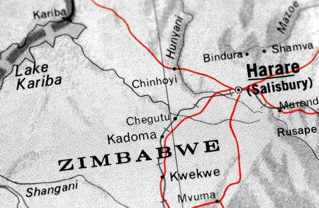 close-up map detail of Zimbabwe photo