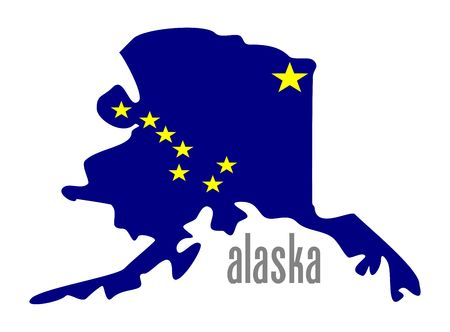 Alaska outline and state flag illustation photo