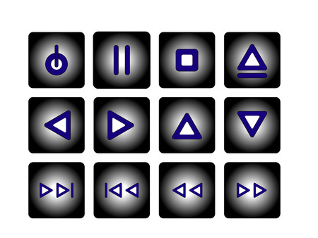 audio buttons in midnight blue and moonshine Vector