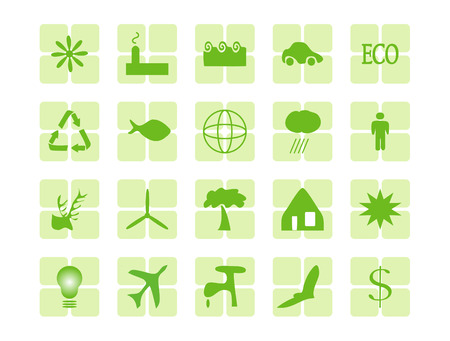 environment themed web buttons in green Stock Vector - 3886028