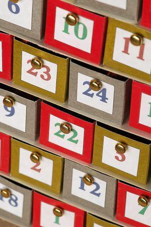 random numbers on small cardboard file draws photo