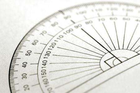 protractor: printed protractor for geometry measurement Stock Photo