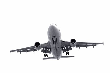 isolated jet aircraft on landing approach