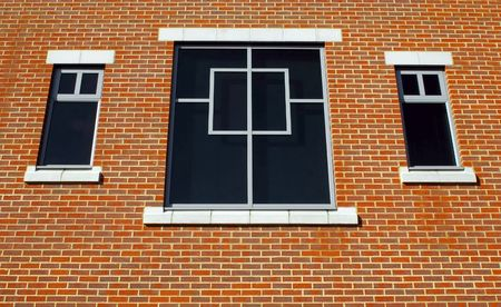 three window and brick wall architecture Stock Photo - 4673318