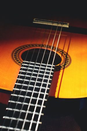 spanish guitar: spanish style classical acoustic guitar Stock Photo