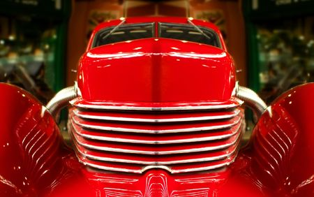 vintage red muscle car abstract photo