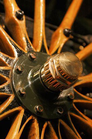 spoked: vintage wood spoked vehicle wheel circa 1920