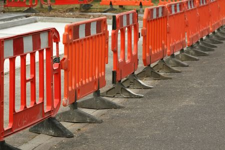 temporary plastic roadwork barriers  photo