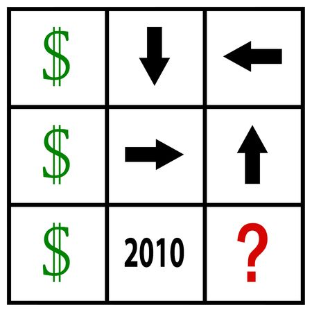 speculation: dollar speculation in tic tac toe grid Stock Photo