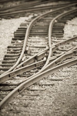 narrow gauge: aged narrow gauge railroad tracks and points Stock Photo