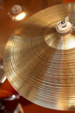 drumming: close-up of cymbals on a drum kit Stock Photo