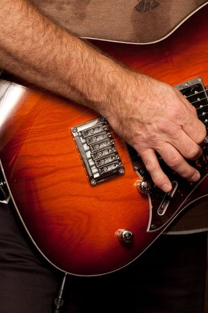 live performance: musician playing an electric guitar during a live performance Stock Photo