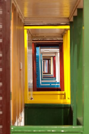 vanishing: vanishing point of colorful beach hut doorways Stock Photo