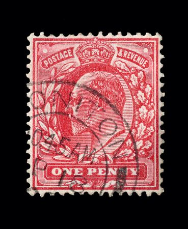 commonwealth: BRITISH postage stamp - Circa 1905: King Edward VII penny red