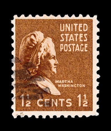 martha: U.S postage stamp - circa 1938: portrait of Presidential First Lady Martha Washington