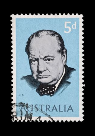 churchill: AUSTRALIA postage stamp - circa 1965: Sir Winston Churchill head portrait on light blue