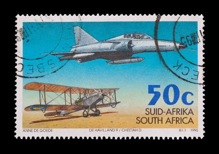 airforce: SOUTH AFRICA: commemorative mail stamp celebrating 75 years of the South African Airforce, circa 1995